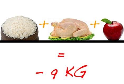 dieta de pollo arroz y manzana